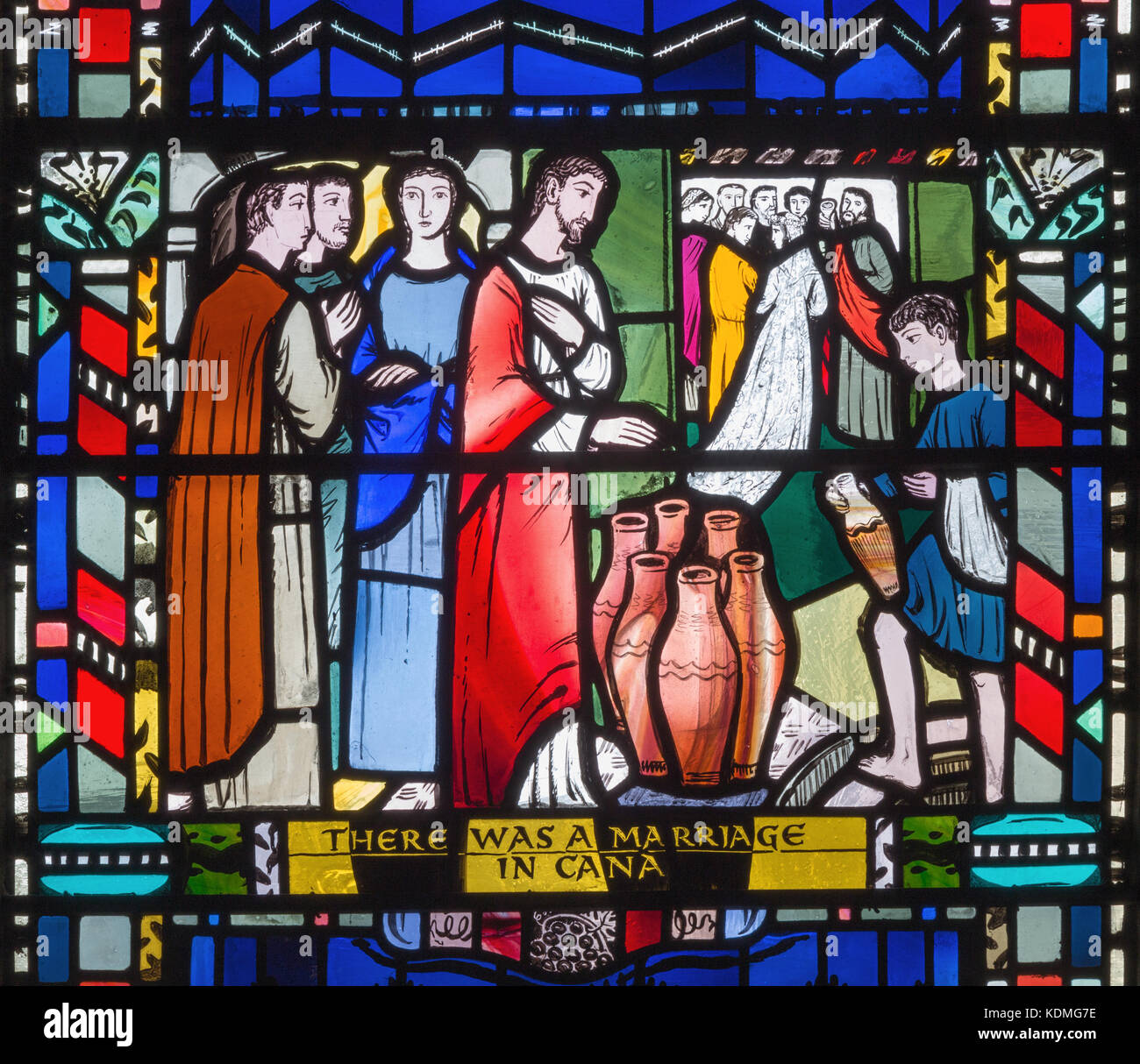 LONDON, GREAT BRITAIN - SEPTEMBER 16, 2017: The stained glass of he Wedding at Cana in church St Etheldreda by Charles Stock Photo