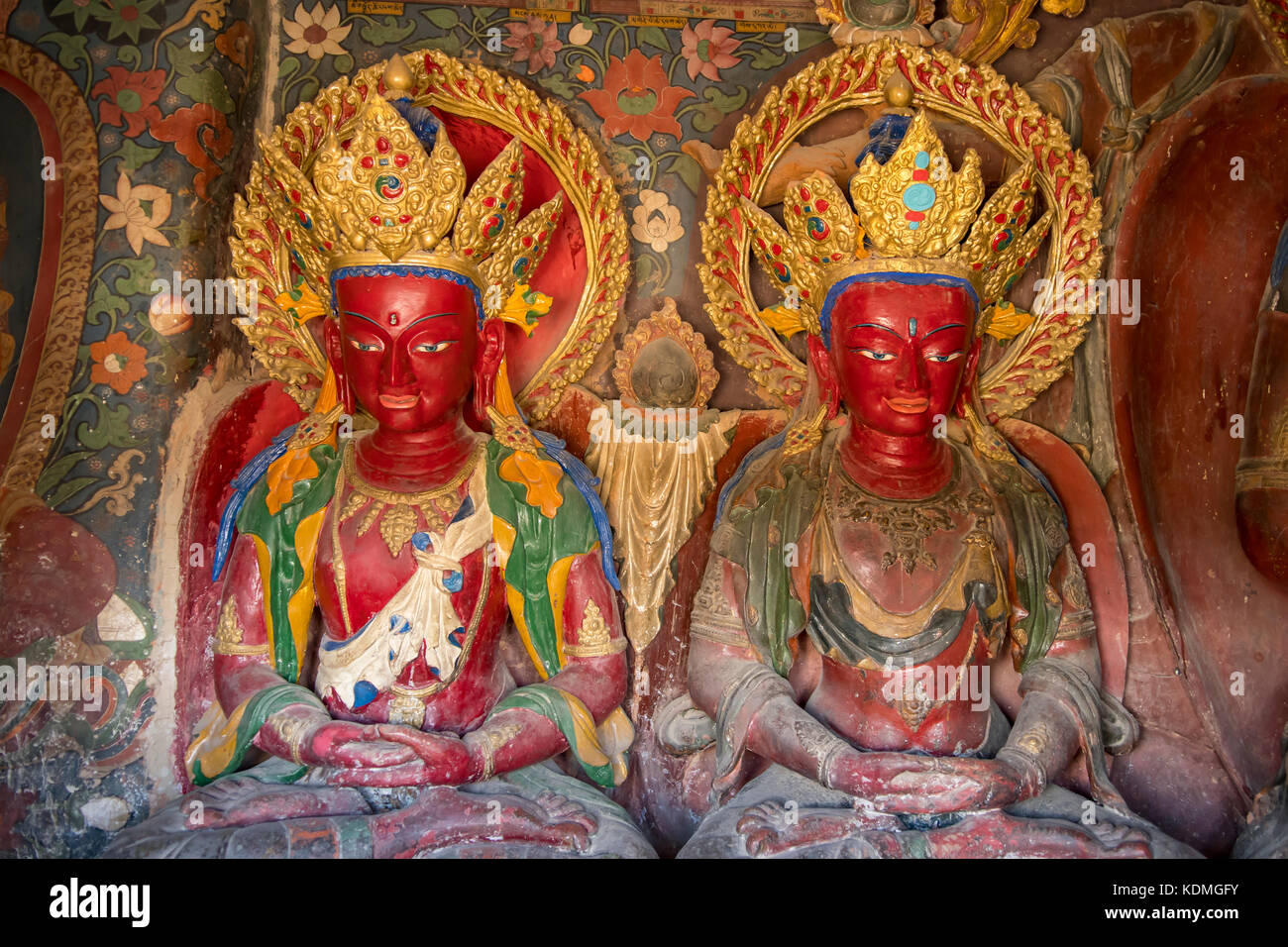 Inside Chapel in Kumbum Stupa at Palcho Monastery, Gyantse, Tibet, China - Stock Image