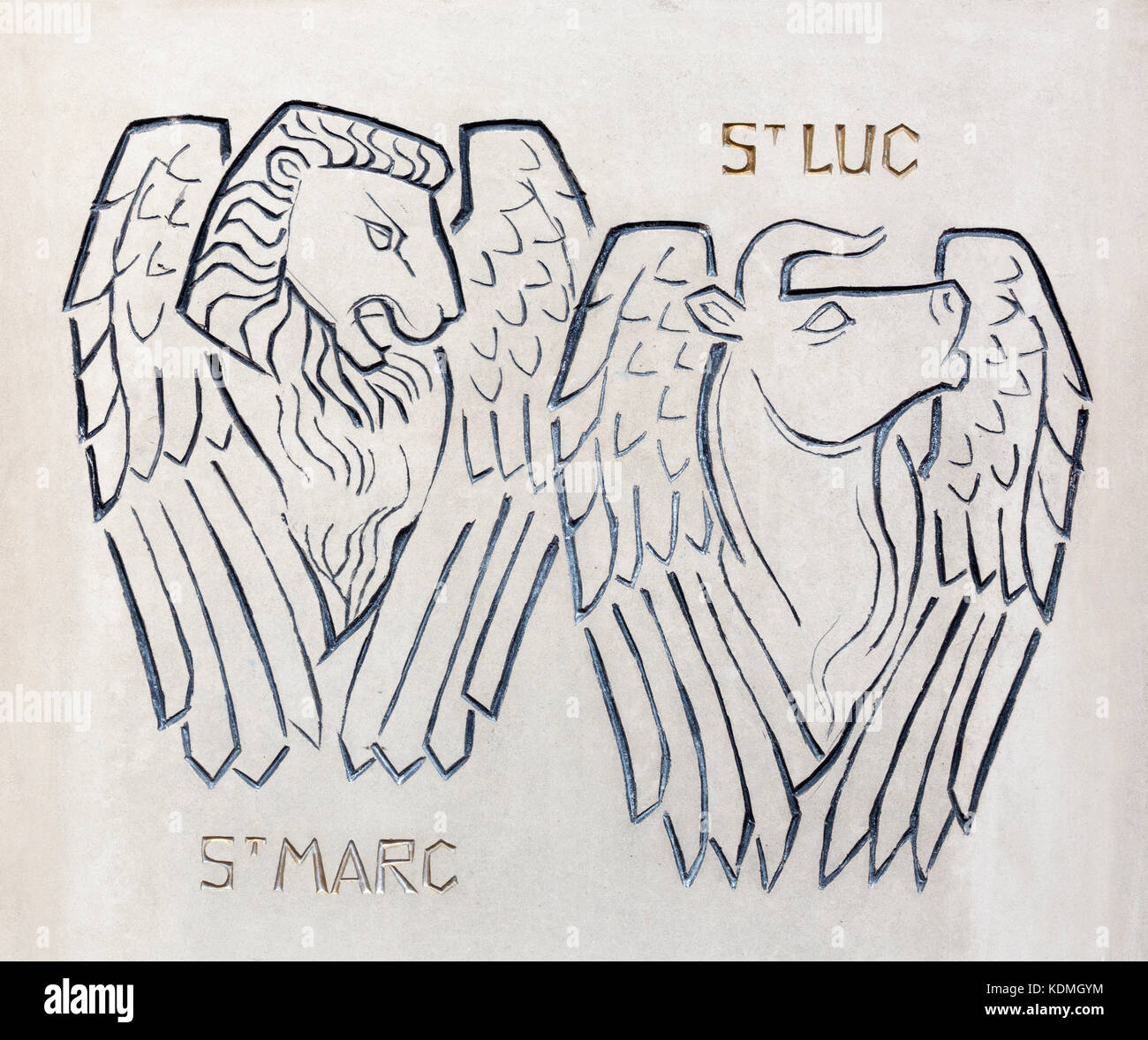 LONDON, GREAT BRITAIN - SEPTEMBER 18, 2017: The detail of modern St. Luke and Mark the Evangelists symbols carved - Stock Image