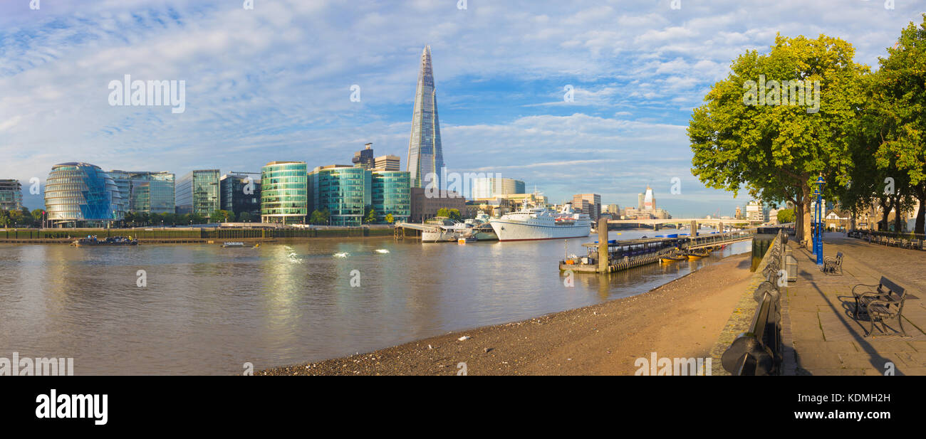 London - The panorama of Thames riverside and Shard from promenad in morning light. Stock Photo
