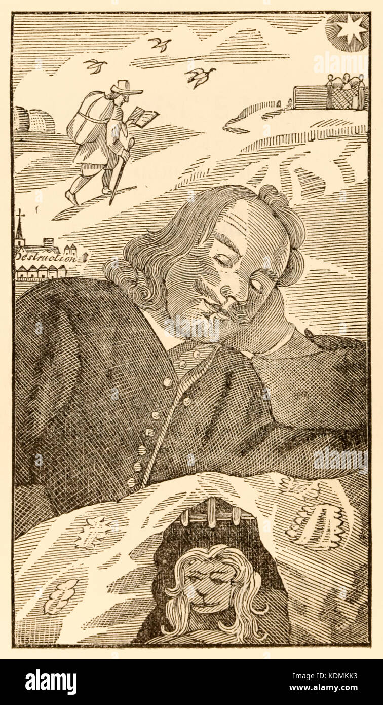 Frontispiece from 'The Pilgrim's Progress From This World, To That Which Is To Come' by John Bunyan (1628-1688) - Stock Image