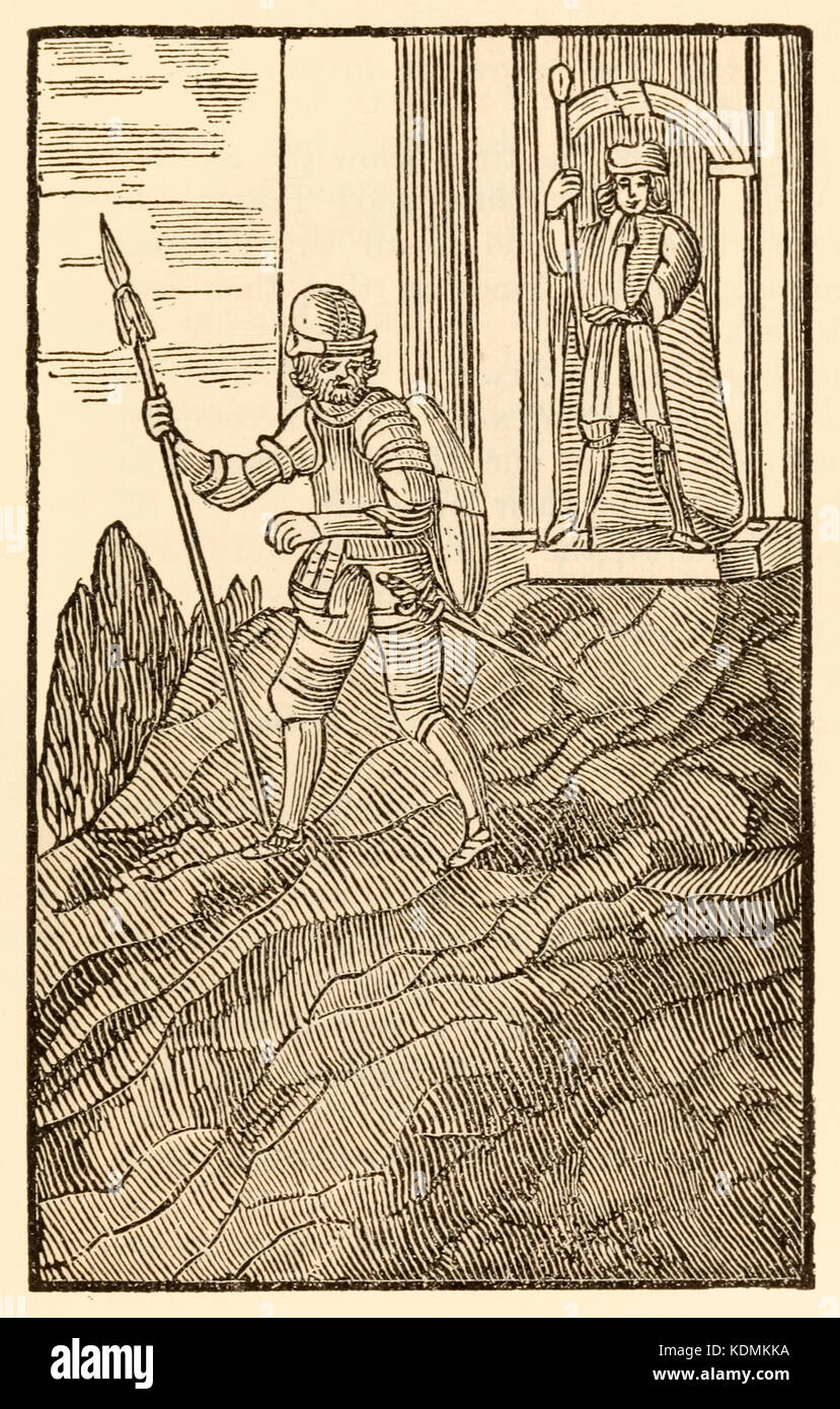 """""""Whilst Christian is among his godly friends… He's glad with northern steel from top to toe."""" from 'The Pilgrim's - Stock Image"""