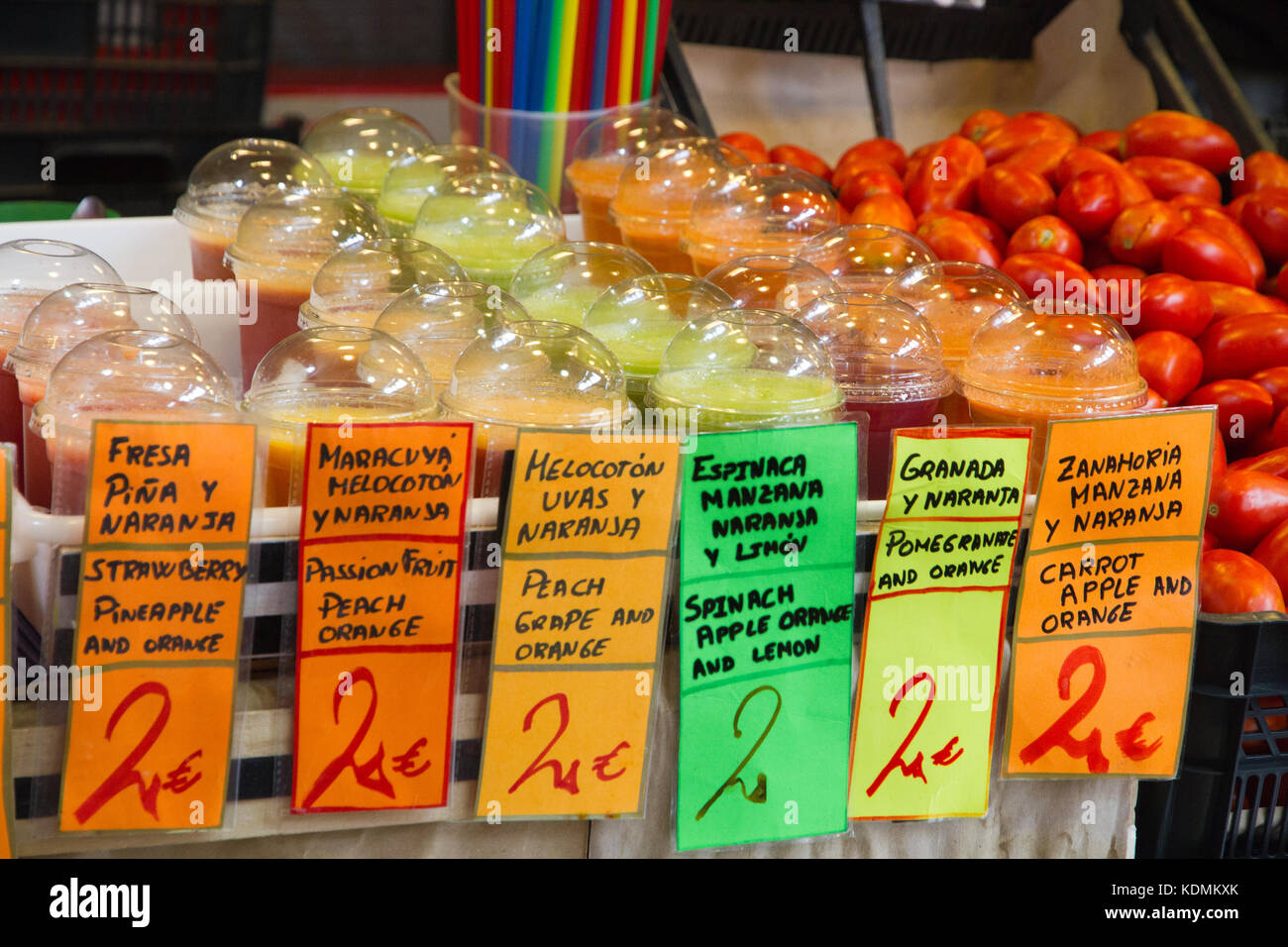 Malaga market, fresh fruits cups on sale in a stall Stock Photo