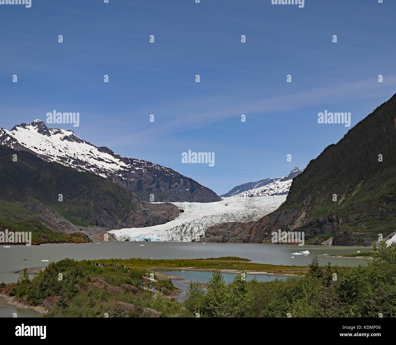 The Mendenhall glacier extends 13.6 miles from the Juneau Icefield down into Mendenhall valley and ends in a beautiful Stock Photo