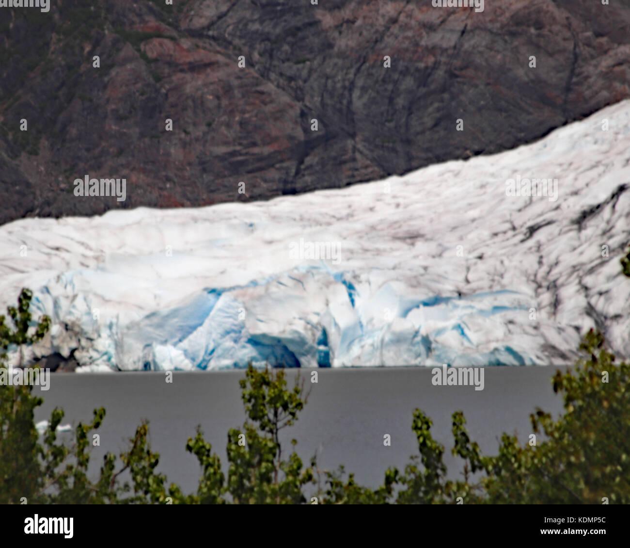 Closeup of Mendenhall glacier ice as it touches into Mendenhall lake in Juneau, Alaska Stock Photo