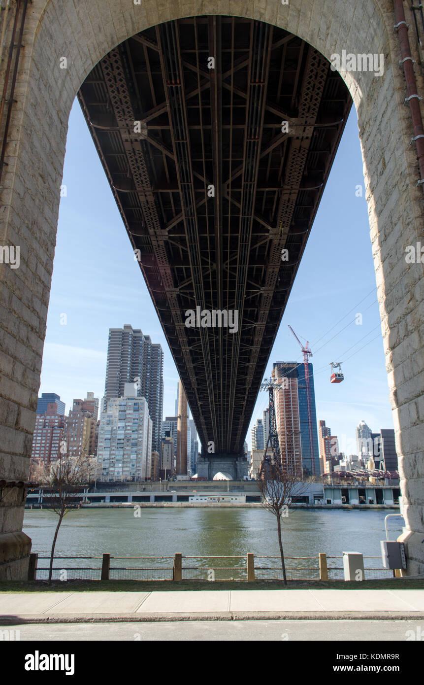 A view from below Ed Koch Queensboro Bridge taken from Roosevelt Island, New York City. - Stock Image