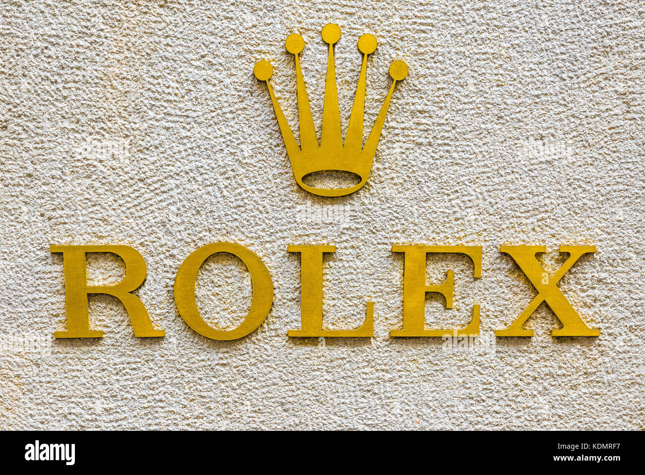 Milan, Italy - August 10, 2017: Rolex logo at the entrance to a store in an exclusive area of Milan (via Montenapoleone). - Stock Image
