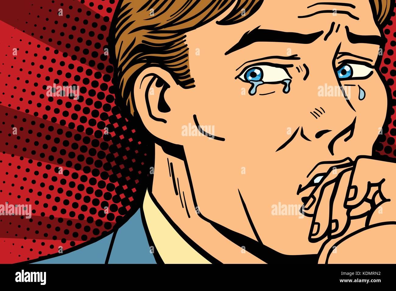 Pop art man crying in depression. Comic book cartoon retro Illustrator vector drawing - Stock Vector