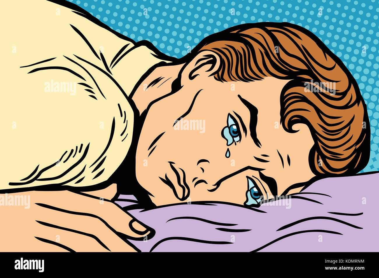 man lying on bed, depression grief and sadness. Comic book cartoon pop art retro Illustrator vector drawing - Stock Vector
