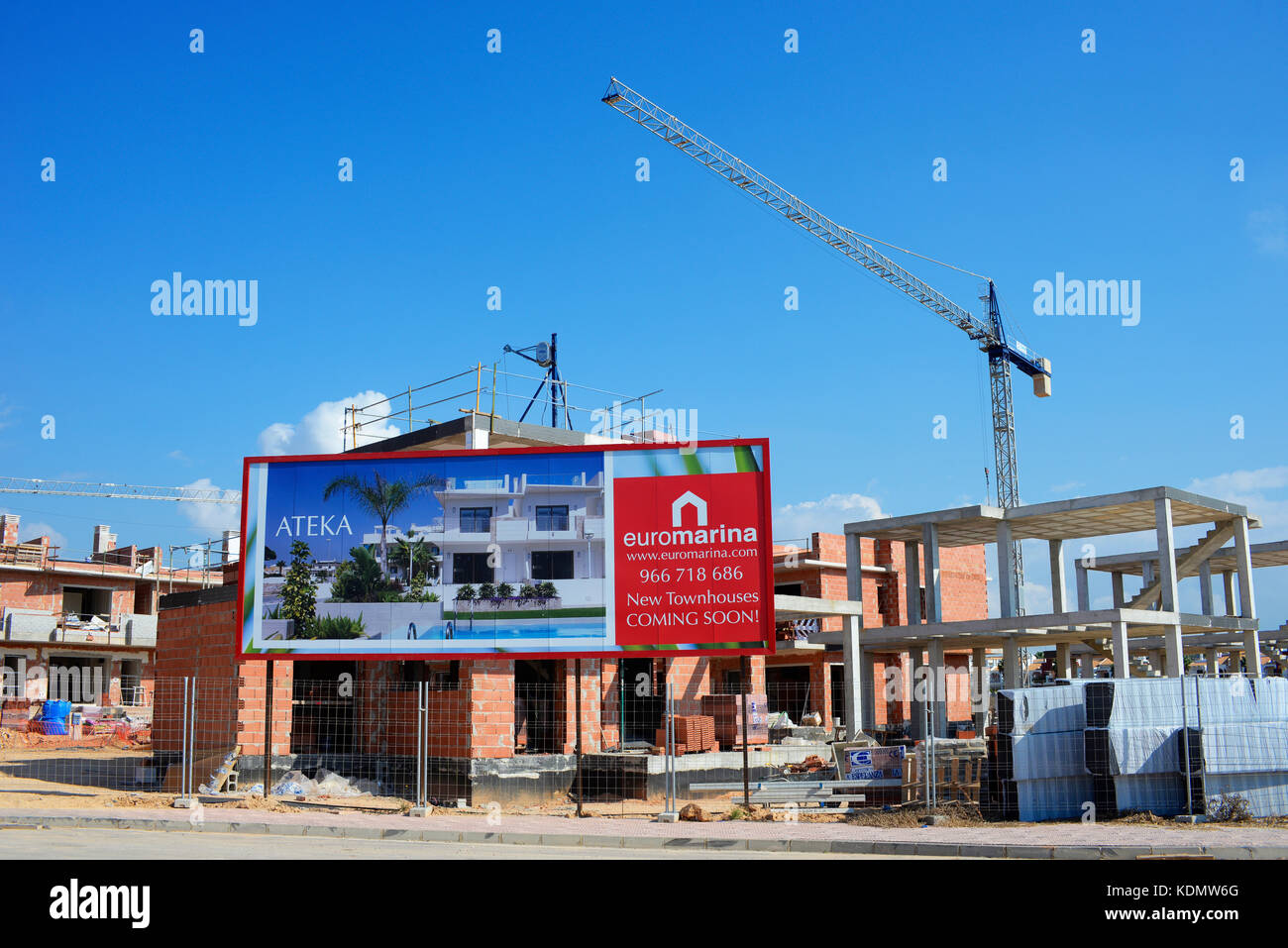 Euromarina property development construction building in progress in Dona Pepa, Ciudad Quesada, Rojales, Spain. - Stock Image