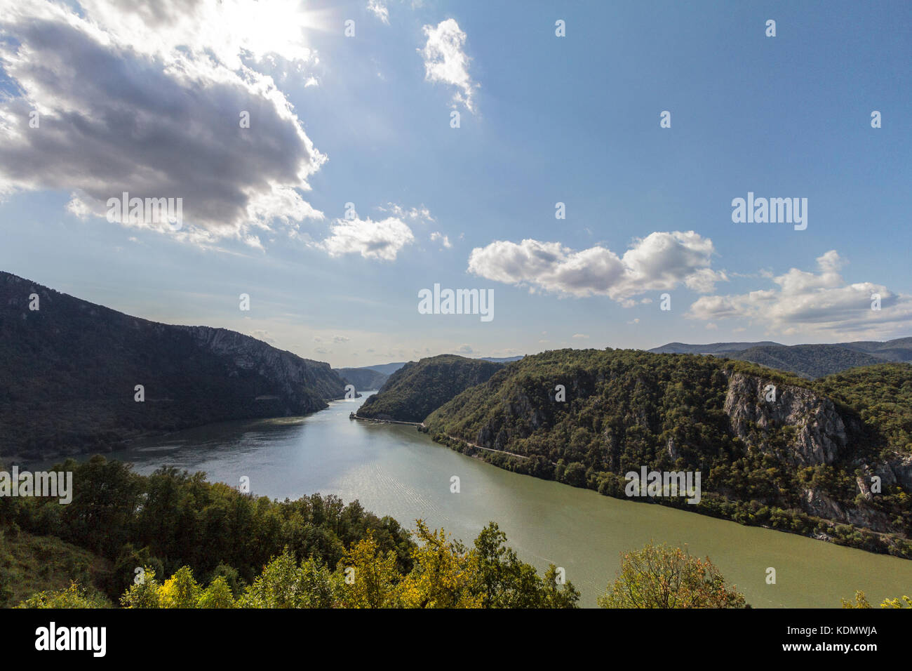 Danube river near the Serbian city of Donji Milanovac in the Iron Gates, also known as Djerdap, which are the Danube - Stock Image