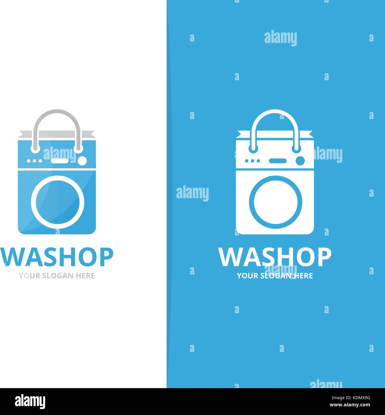 Vector Of Laundry And Bag Logo Combination Washing Machine And Shop