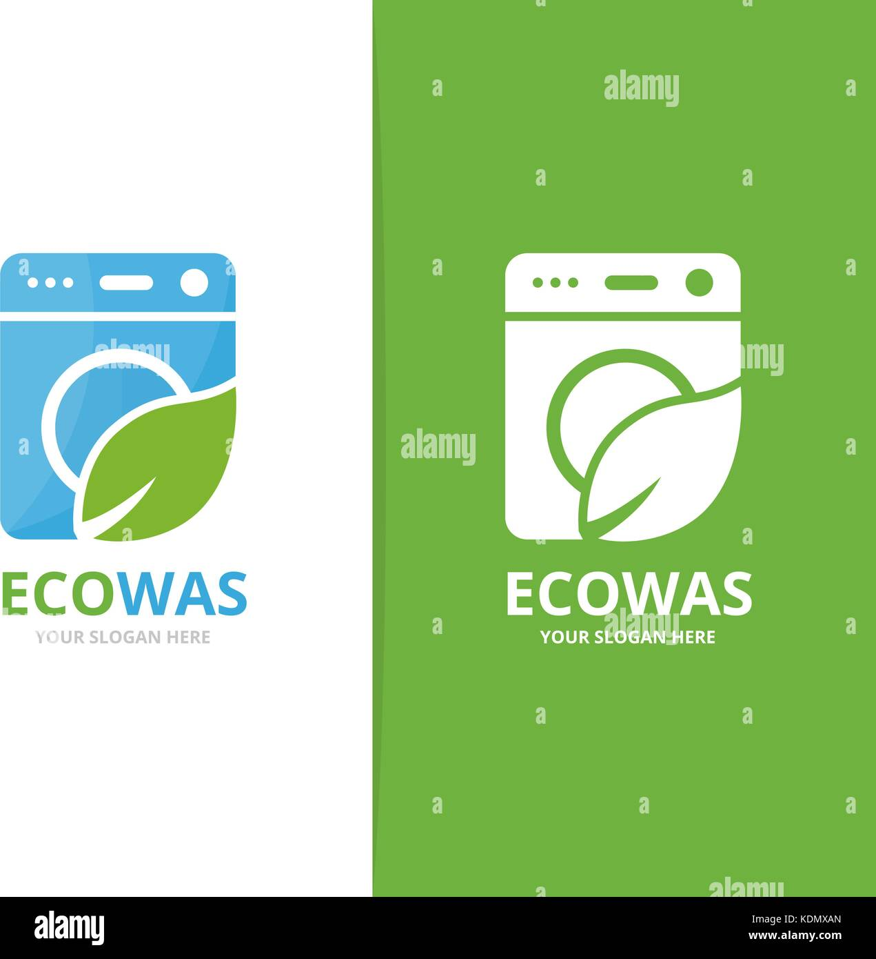 Vector of laundry and leaf logo combination  Washing machine and eco