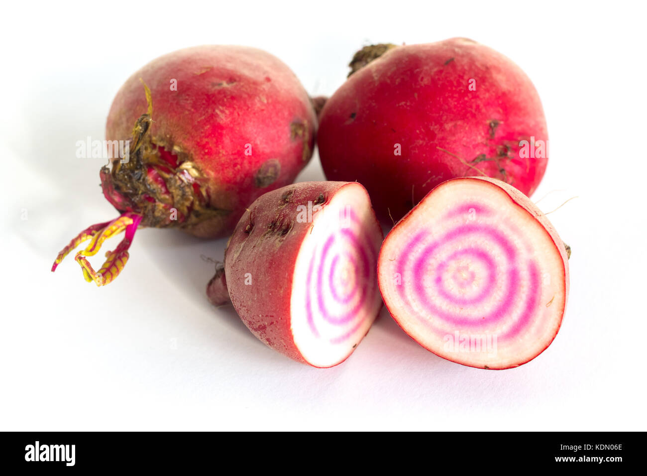 Closeup of raw and cut Chioggio beets - Stock Image