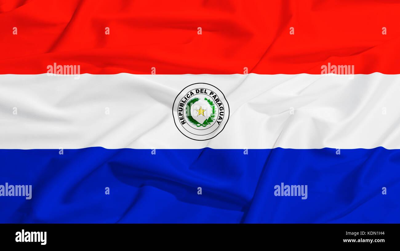 Paraguay flag on a silk drape waving - Stock Image