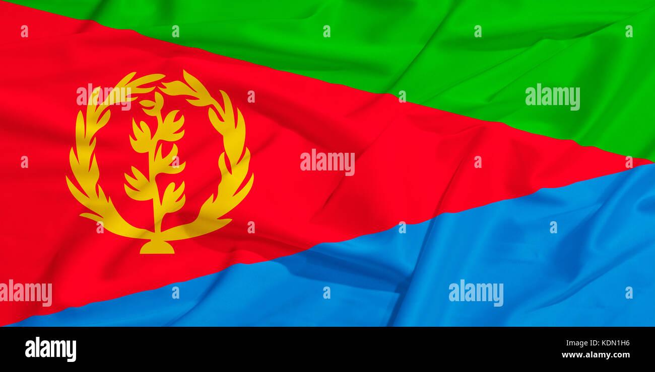 Eritrea flag on a silk drape waving - Stock Image