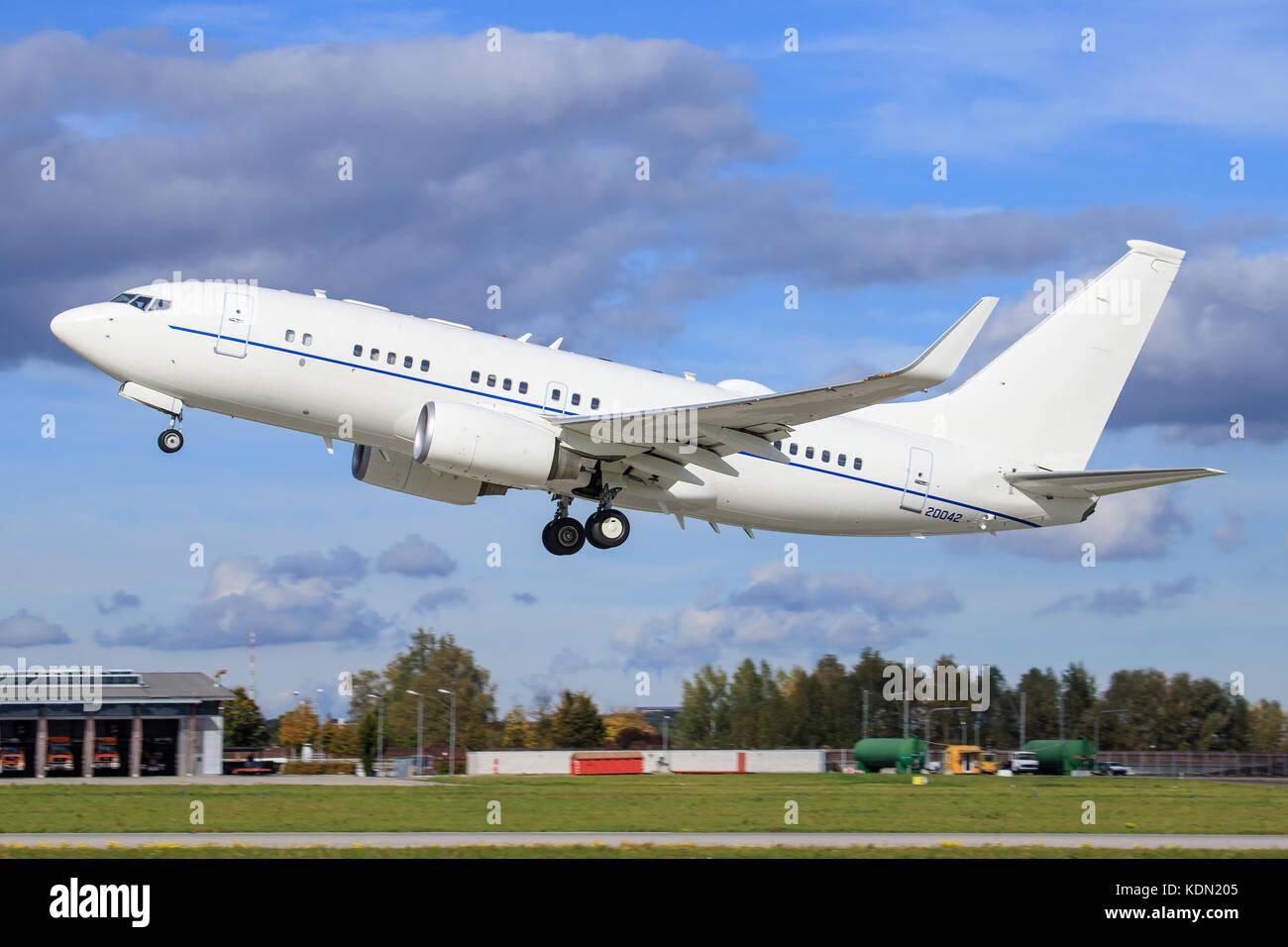 Stuttgart/Germany September 29, 2017: Usaf Boeing C-40 at Stuttgart Airport. - Stock Image