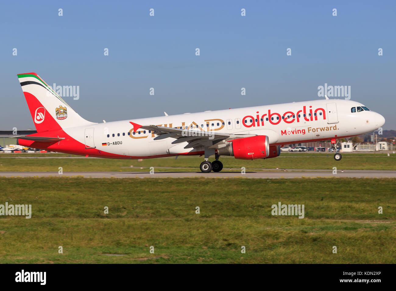 Stuttgart/Germany September 29, 2017: Air Berlin A320 at Stuttgart Airport. - Stock Image