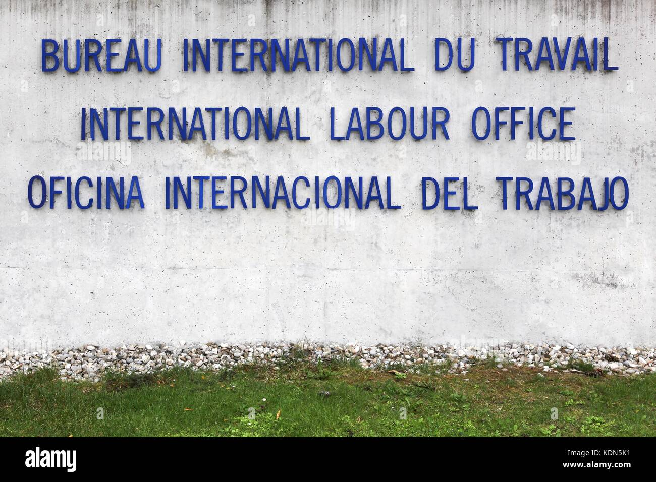 International labour office text on a wall.  ILO is a United Nations specialized agency which promotes international - Stock Image