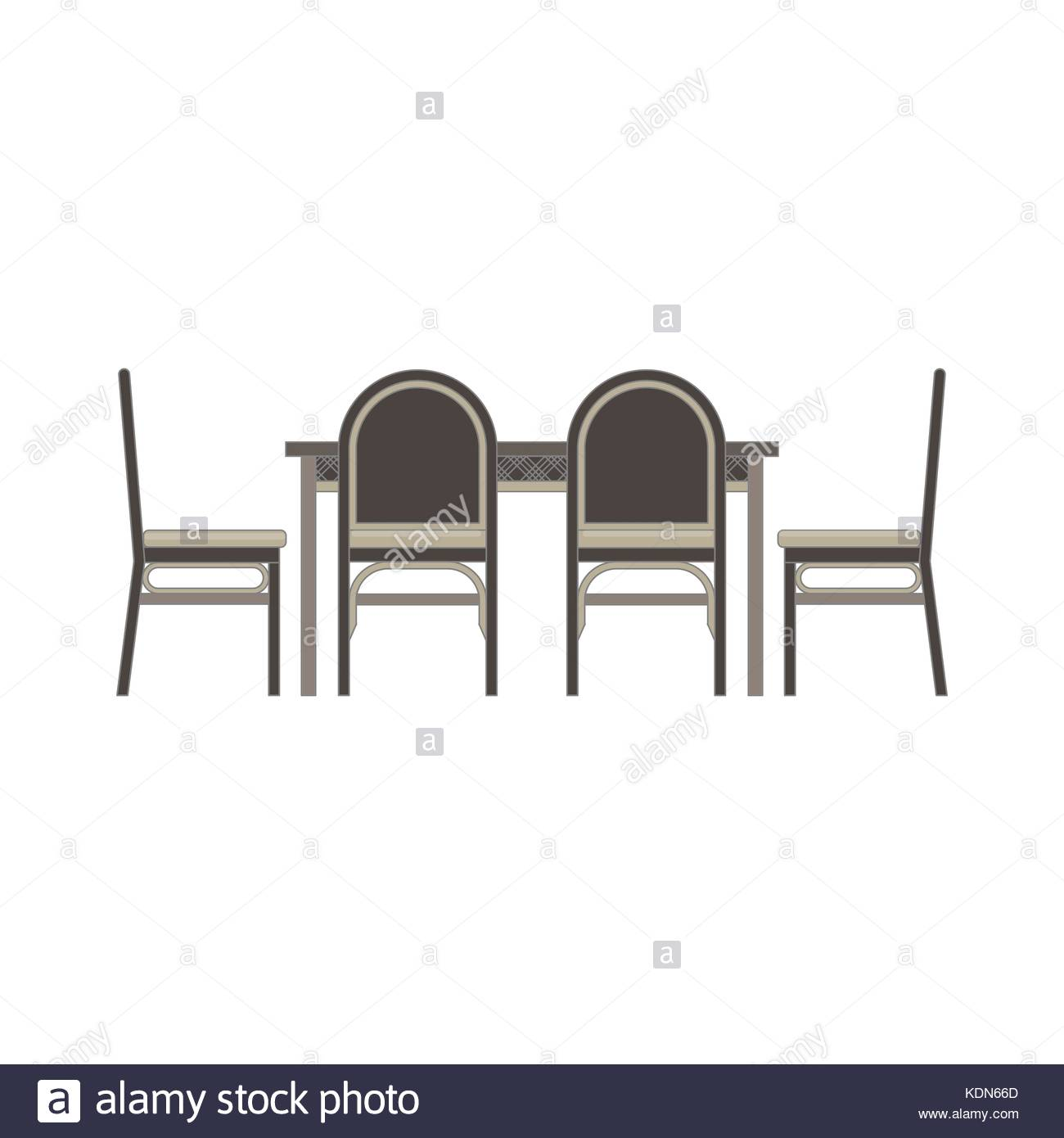 Vector table chair two flat icon isolated. Restaurant furniture side ...