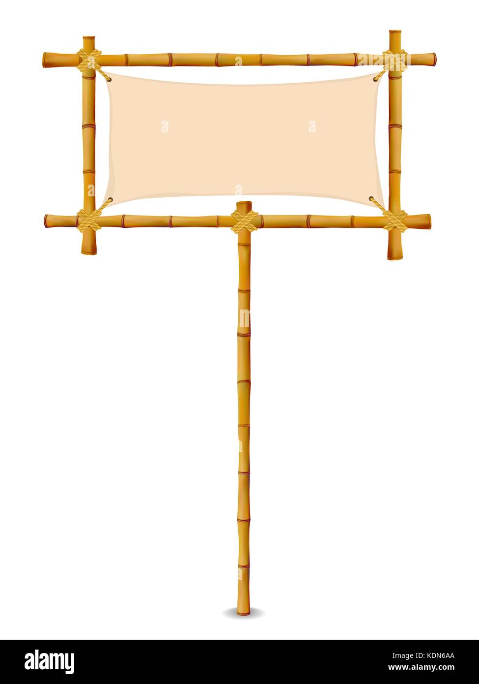 Bamboo Frame with Cloth Sign. Isolated on white. Vector illustration ...