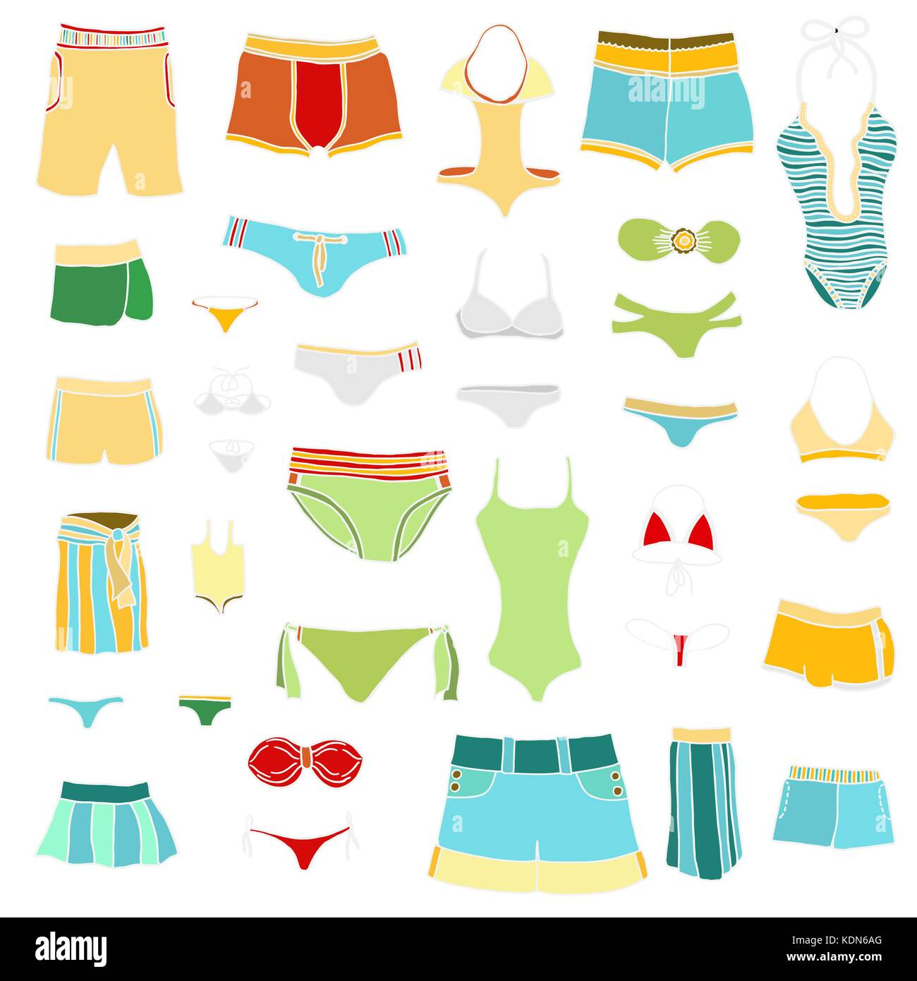 Set of summer clothing icons. Vector doodle illustration. - Stock Vector