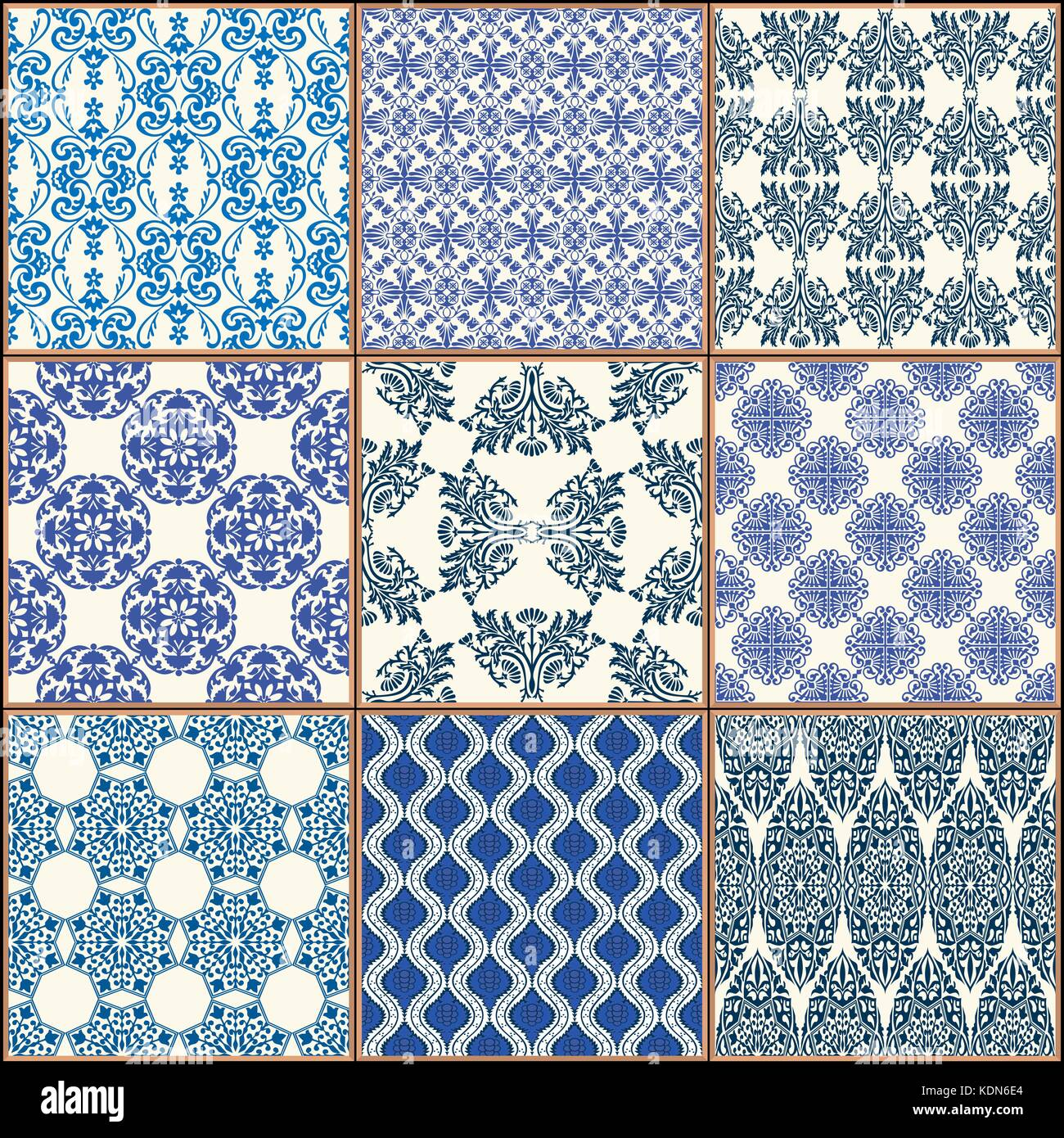 Indigo Blue Tiles Floor Ornament Collection. Gorgeous Seamless Patchwork Pattern from Colorful Traditional Painted - Stock Vector