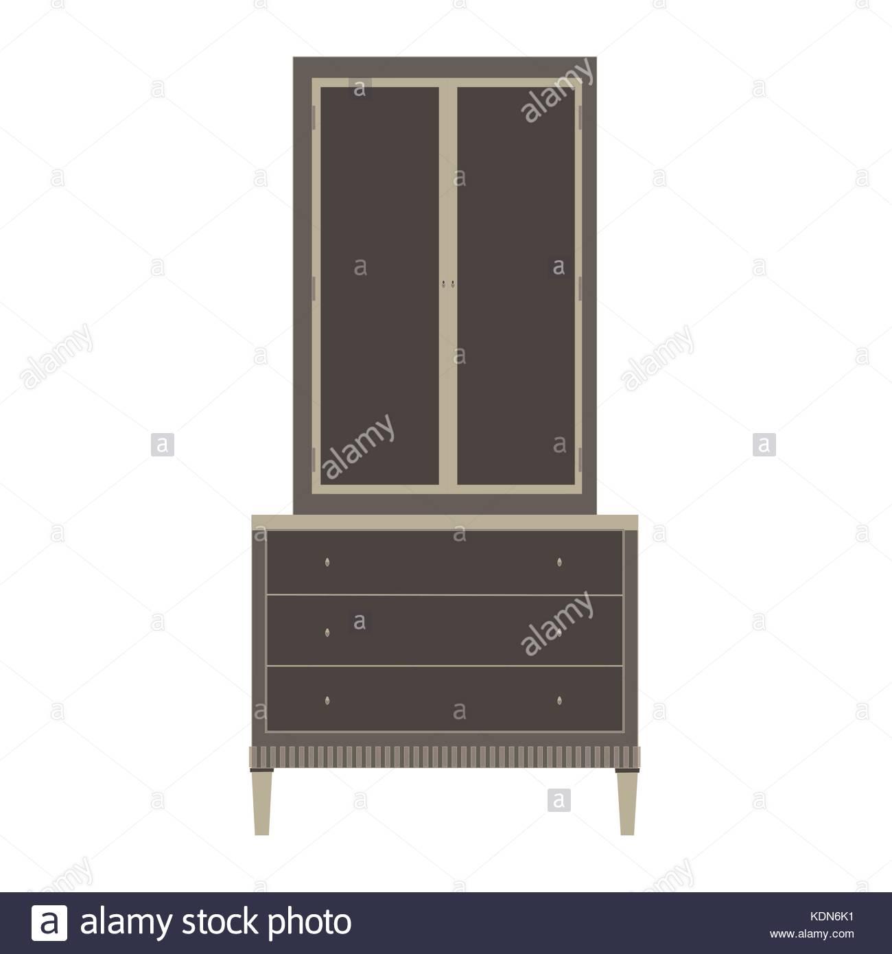 Empty Cupboard Cartoon: Wardrobe Closet Vector Cupboard Furniture Illustration
