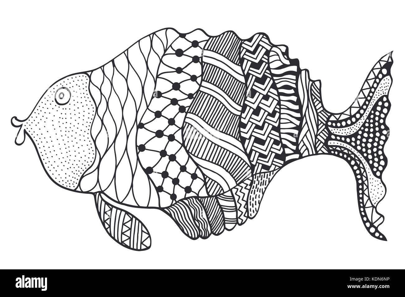 - Vector Hand Drawn Doodle Outline Fish Illustration. Decorative