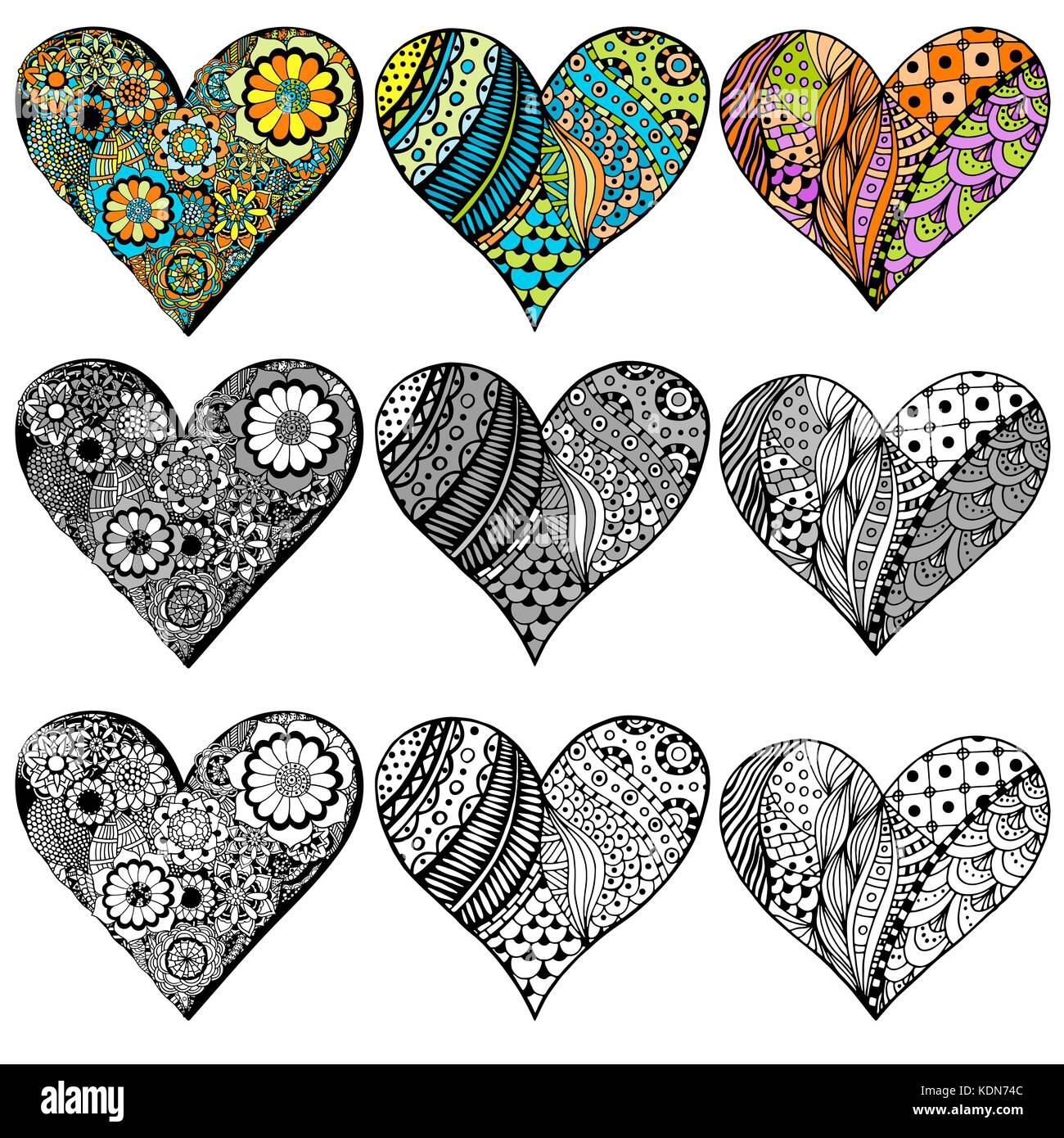Set Hand drawn hearts in zentangle style. Pattern for ...