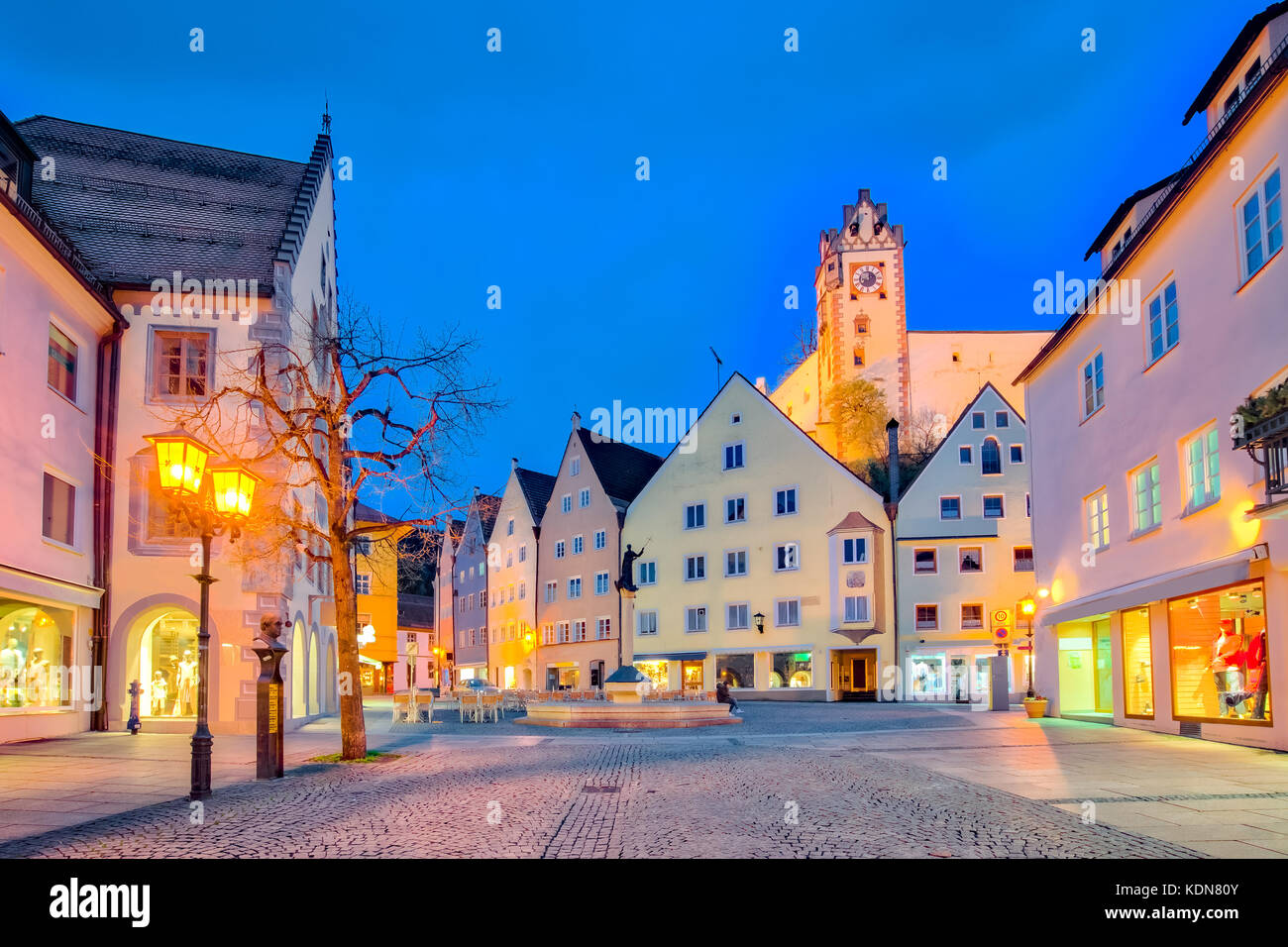 St. Mang Basillica in Fussen Town at night in Bavaria, Germany. Stock Photo