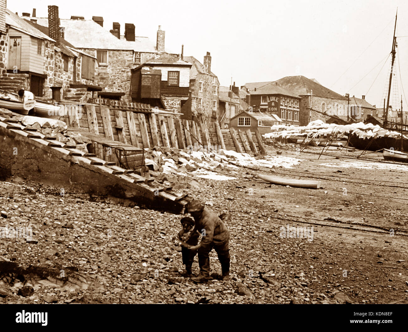 St Ives beach, early 1900s - Stock Image
