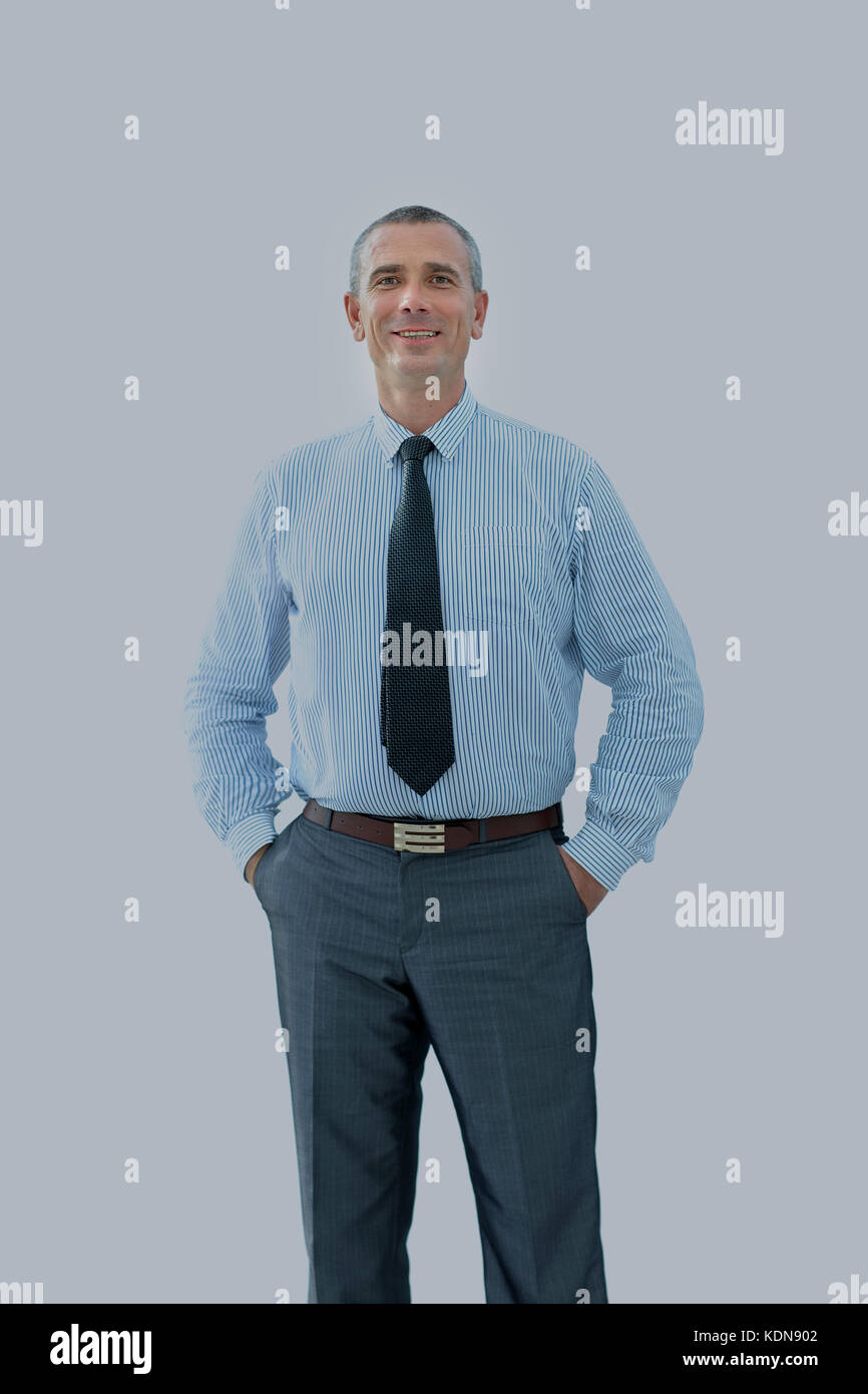 portrait of confident businessman and a reliable partner looking - Stock Image
