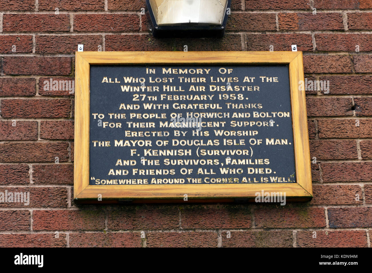 Winter Hill Air Disaster Memorial Plaque - Stock Image