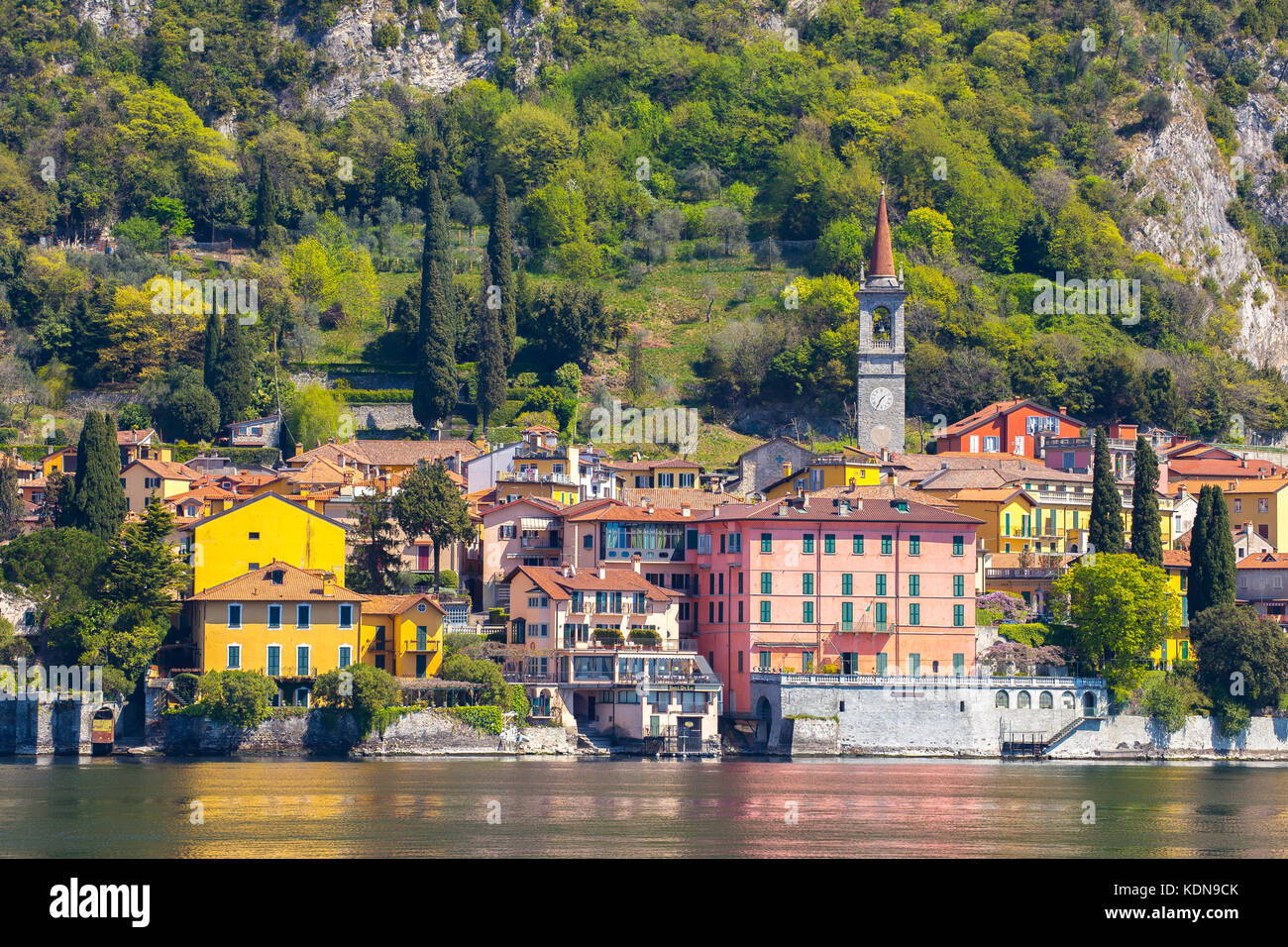 Lake Como with view of Varenna in Lecco, Italy. - Stock Image