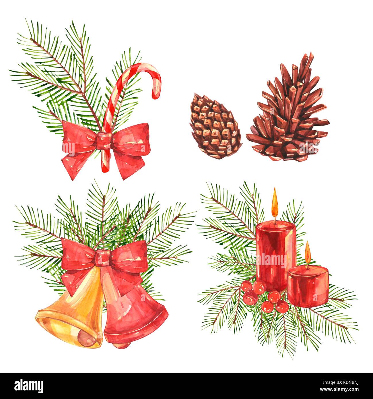 Christmas Illustrations Vintage.Set Of Vintage Christmas Illustrations Christmas Candle