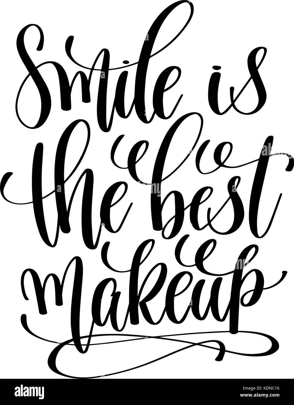 Smile Is The Best Makeup Hand Written Lettering Stock Vector Art