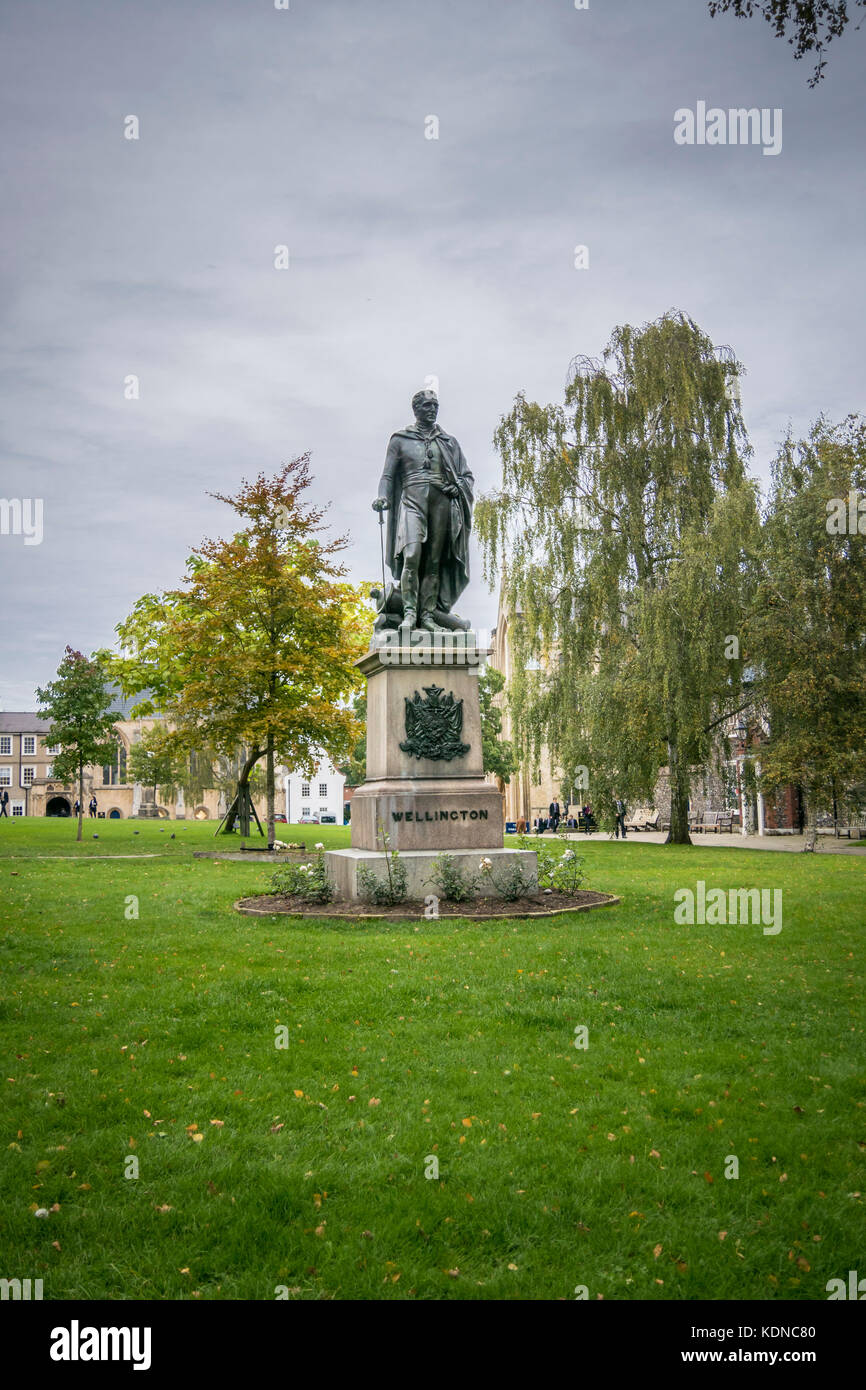 Duke of Wellington statue in the grounds of Norwich Cathedral, Norfolk, UK - Stock Image