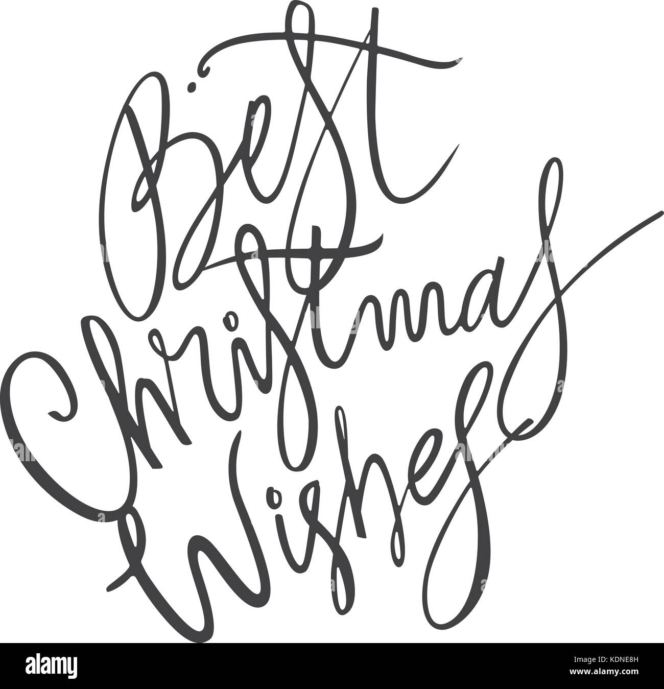 Best Christmas Wishes-lettering phrase. Holiday letter ink Stock ...