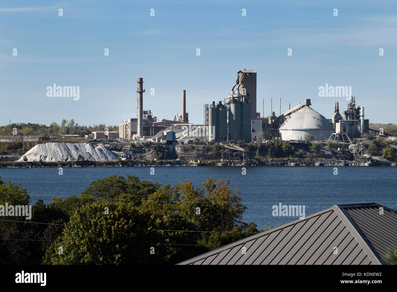Lehigh Cement Company plant at Picton Bay in Prince Edward County Ontario - Stock Image