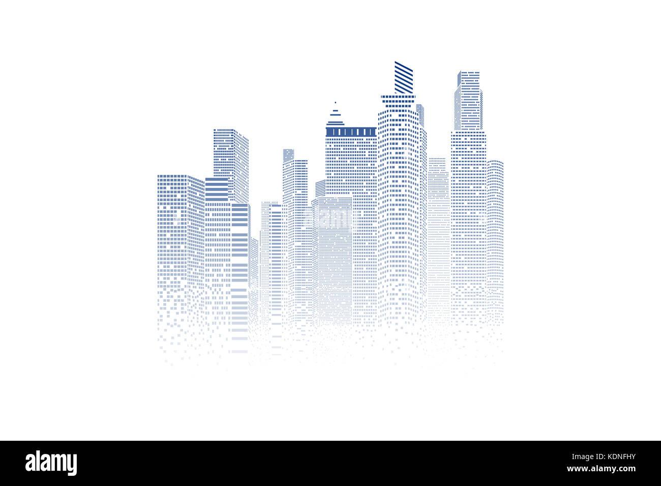 Building and City Illustration, City scene on white background - Stock Image