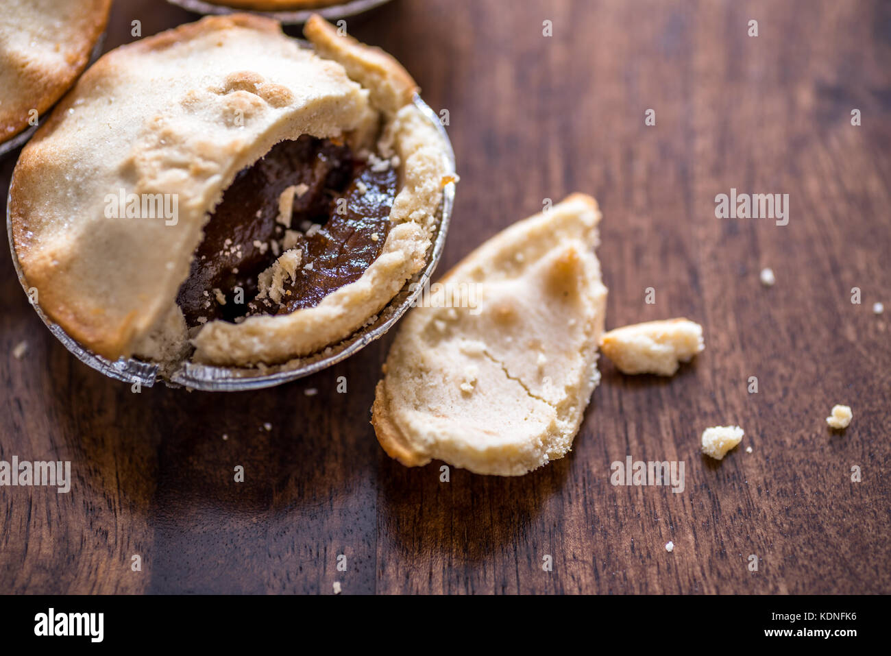 Christmas mince Pie close-up with copy space - Stock Image