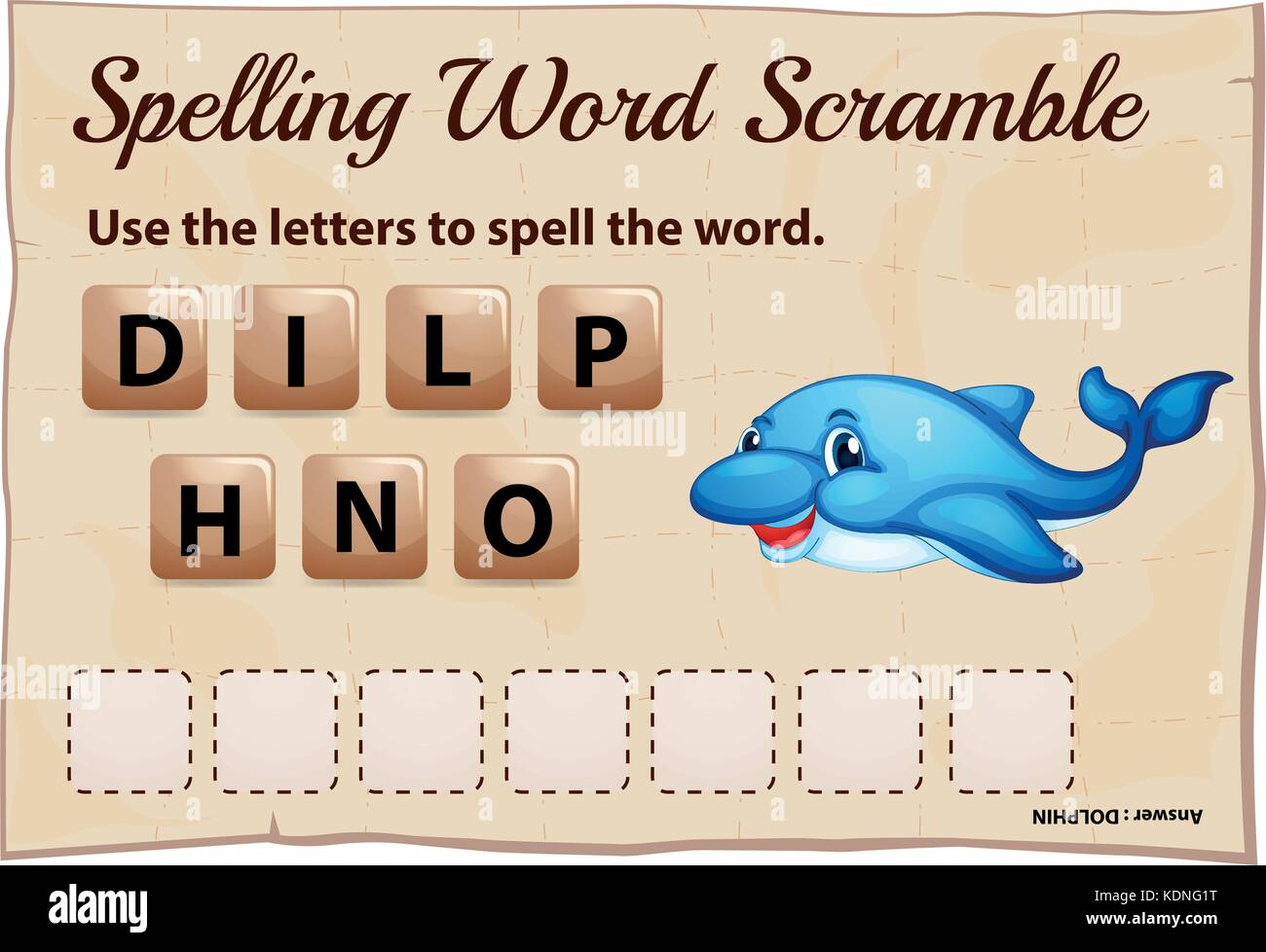 Spelling word scramble template for dolphin illustration - Stock Vector