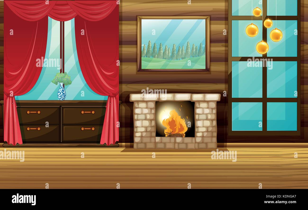 Room with fireplace and red curtain illustration - Stock Vector