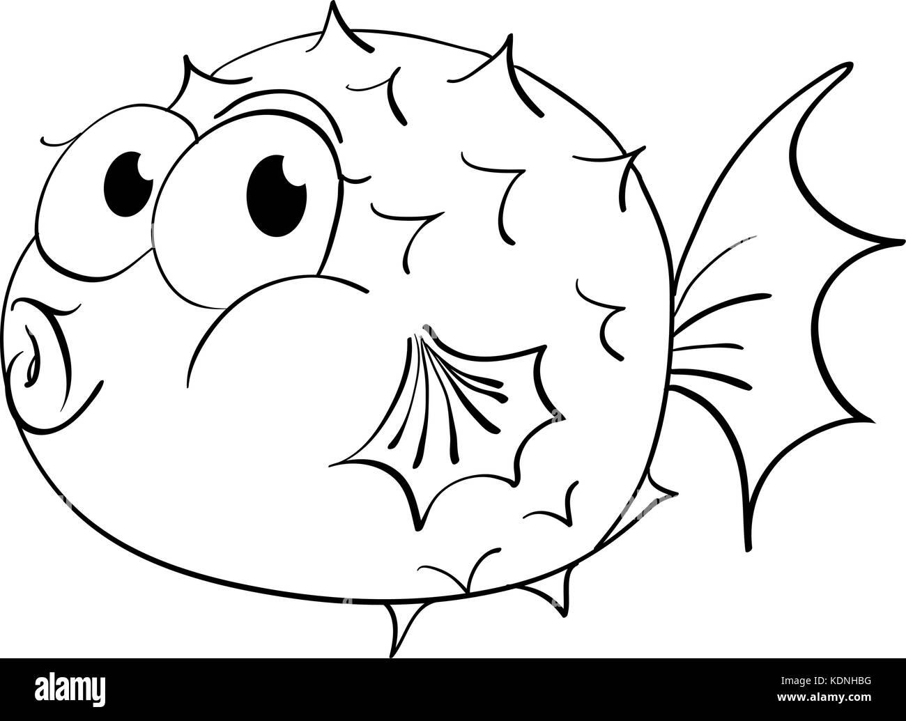 Animal Outline For Puffer Fish Illustration