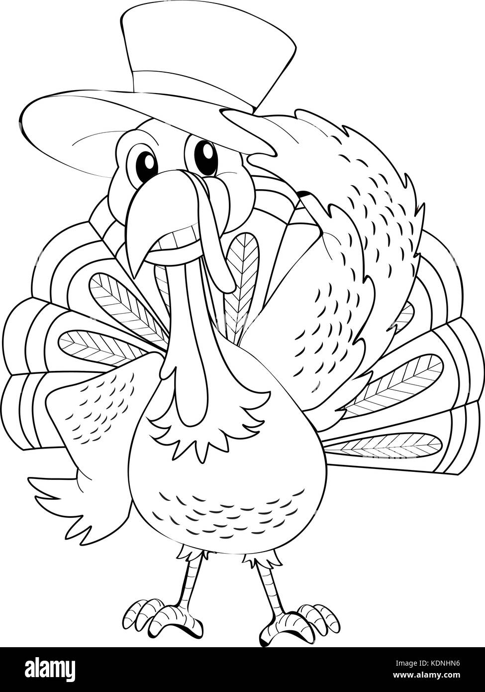 Animal outline for wild turkey illustration Stock Vector