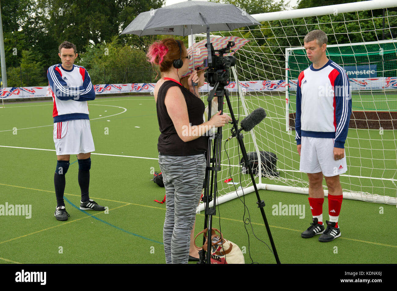 Paralympic Cerebral Palsy Football team  training - Stock Image