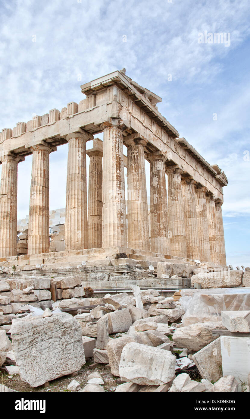 The Parthenon is a former temple on the Athenian Acropolis, Greece, dedicated to the goddess Athena, whom the people - Stock Image