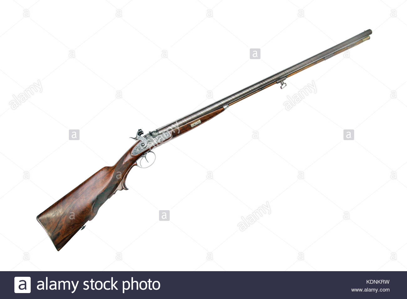 Hunting double-barrel gun with capsule lock. Austria. Vienna. 19th century. Barrels are from Damascus steel - Stock Image