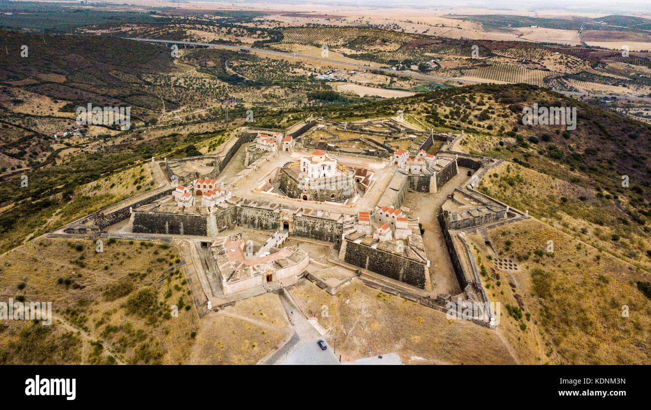 Forte da Graca, Elvas,  Alentejo, Portugal, (Bastion fort or star fort) Stock Photo